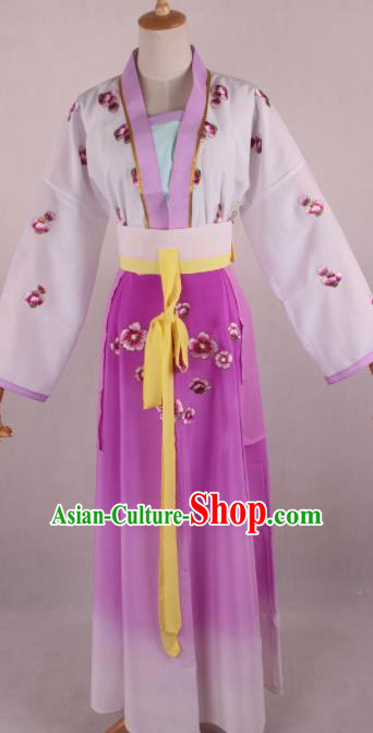 Chinese Beijing Opera Village Girl Purple Dress Ancient Traditional Peking Opera Maidservant Costume for Women