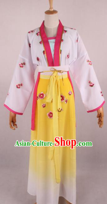 Chinese Beijing Opera Village Girl Yellow Dress Ancient Traditional Peking Opera Maidservant Costume for Women