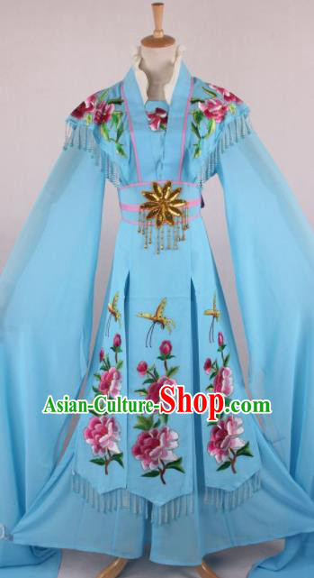 Professional Chinese Beijing Opera Nobility Lady Blue Dress Ancient Traditional Peking Opera Diva Costume for Women