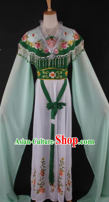 Professional Chinese Beijing Opera Peri Green Dress Ancient Traditional Peking Opera Diva Costume for Women