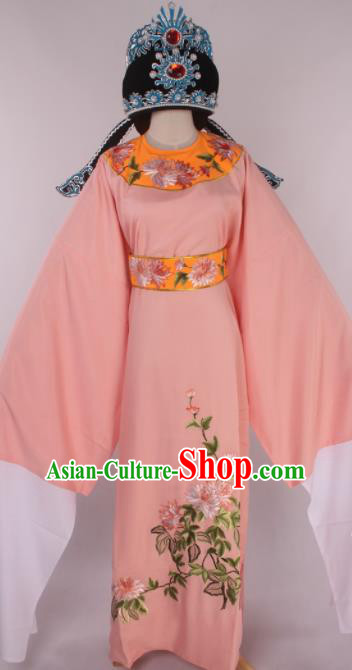 Traditional Chinese Shaoxing Opera Gifted Scholar Pink Robe Ancient Childe Costume and Hat for Men