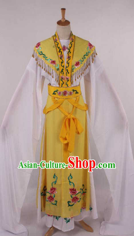 Chinese Traditional Beijing Opera Actress Princess Yellow Dress Ancient Peking Opera Diva Costume for Women