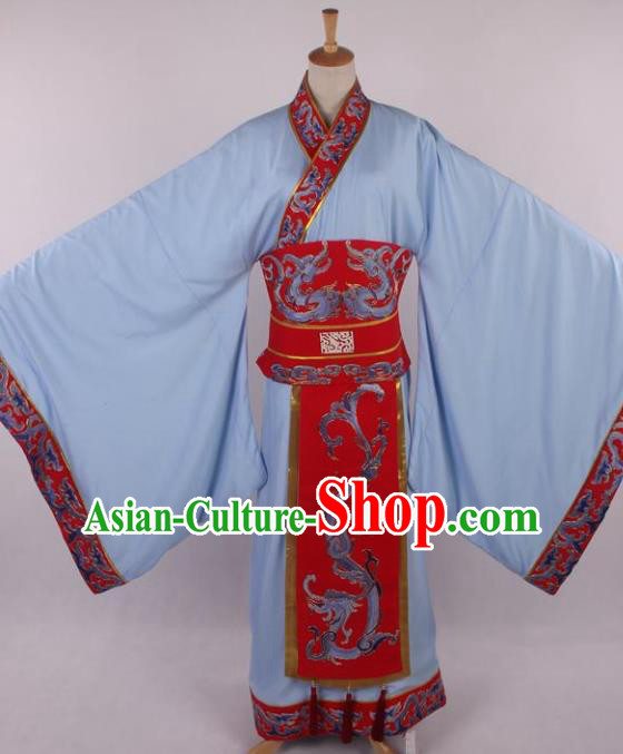 Traditional Chinese Shaoxing Opera Niche Embroidered Blue Clothing Ancient Han Dynasty Minister Costume for Men