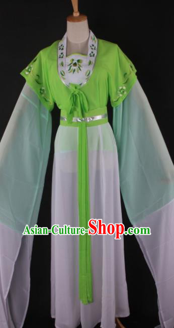 Professional Chinese Beijing Opera Maidservant Green Dress Ancient Traditional Peking Opera Diva Costume for Women