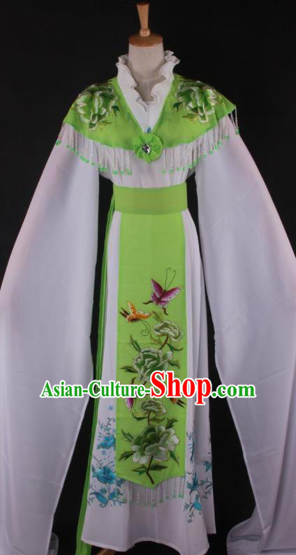 Professional Chinese Beijing Opera Princess Green Dress Ancient Traditional Peking Opera Diva Costume for Women