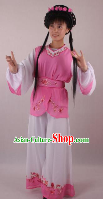 Professional Chinese Beijing Opera Servant Girl Pink Clothing Ancient Traditional Peking Opera Costume for Women
