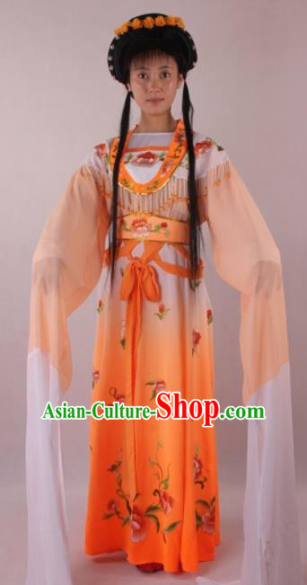 Professional Chinese Beijing Opera Actress Orange Dress Ancient Traditional Peking Opera Costume for Women