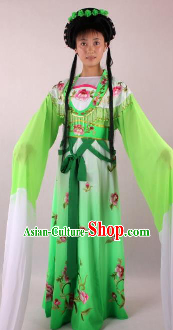 Professional Chinese Beijing Opera Actress Green Dress Ancient Traditional Peking Opera Costume for Women