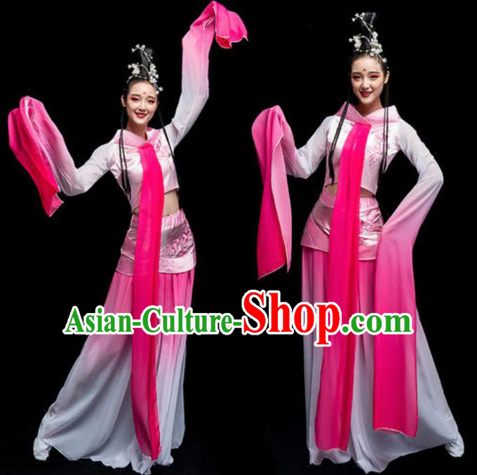 Traditional Chinese Classical Dance Cai Wei Costume Court Dance Water Sleeve Dance Pink Dress for Women