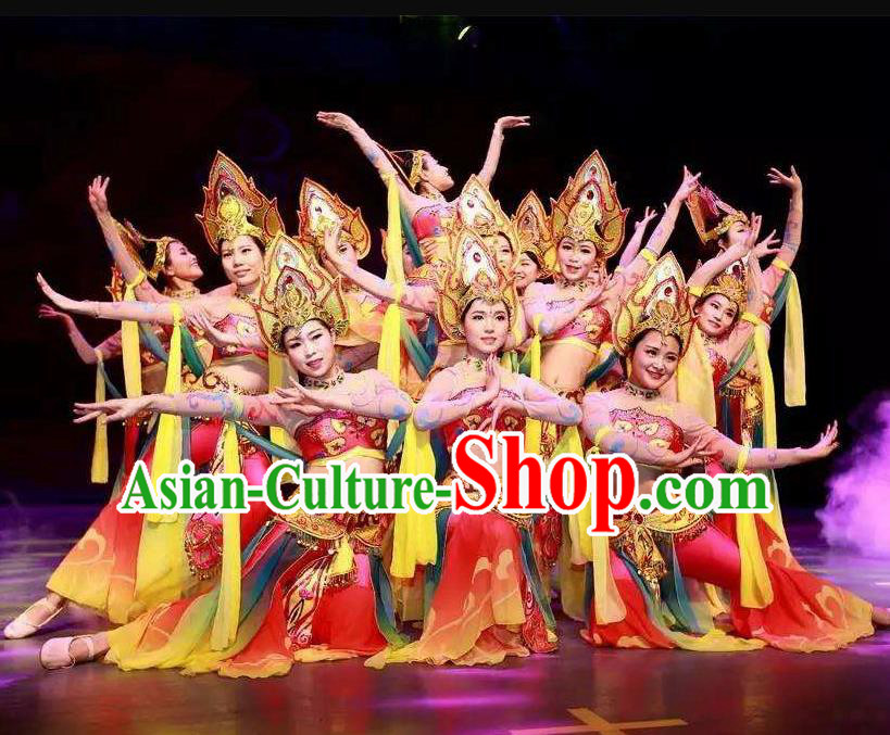 Traditional Chinese Classical Dance Flying Apsaras Costume Beautiful Dance Red Dress for Women