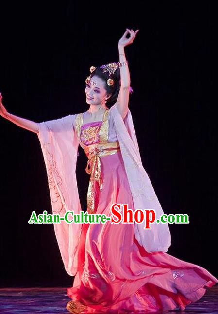Traditional Chinese Classical Dance Gui Fei Zui Jiu Costume Beautiful Dance Drunkened Concubine Yang Rosy Dress for Women