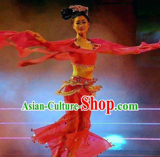 Traditional Chinese Classical Dance Hu Xuan Wu Costume Fan Dance Beautiful Dance Red Dress for Women