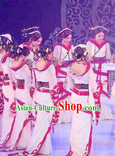 Traditional Chinese Classical Dance Confucius Costume Court Drama Stage Show Beautiful Dance White Dress for Women