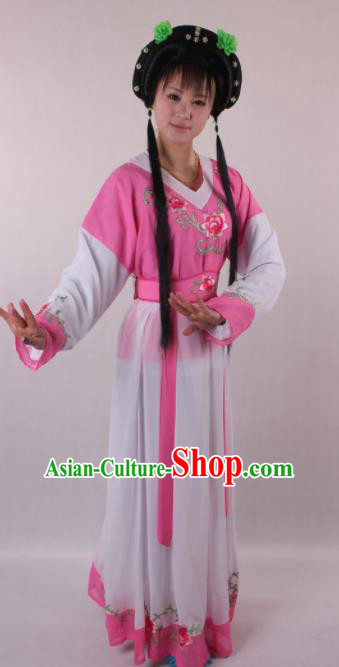 Professional Chinese Shaoxing Opera Servant Girl Pink Dress Ancient Traditional Peking Opera Young Lady Costume for Women
