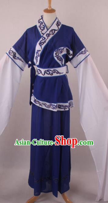 Professional Chinese Shaoxing Opera Village Girl Royalblue Dress Ancient Traditional Peking Opera Maidservant Costume for Women