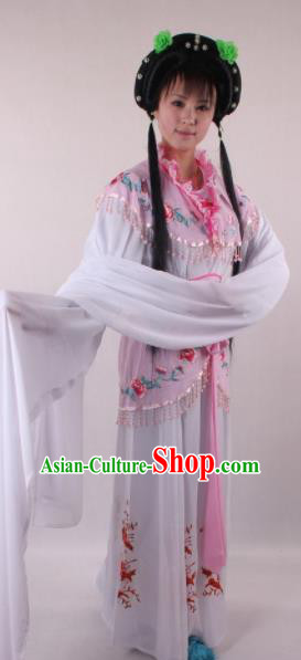 Professional Chinese Shaoxing Opera Rich Girl Lilac Dress Ancient Traditional Peking Opera Maidservant Costume for Women