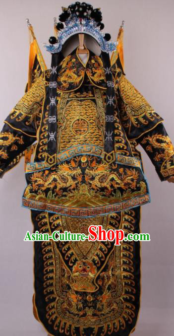 Chinese Shaoxing Opera Takefu Black Clothing Traditional Ancient General Da Kao Costume for Men