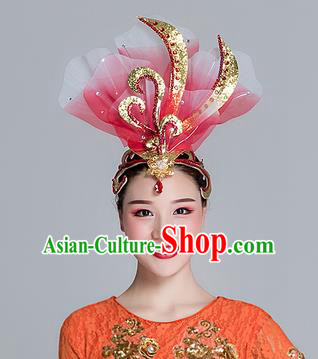 Traditional Chinese Folk Dance Red Silk Flower Hair Clasp Fan Dance Yanko Dance Headwear for Women