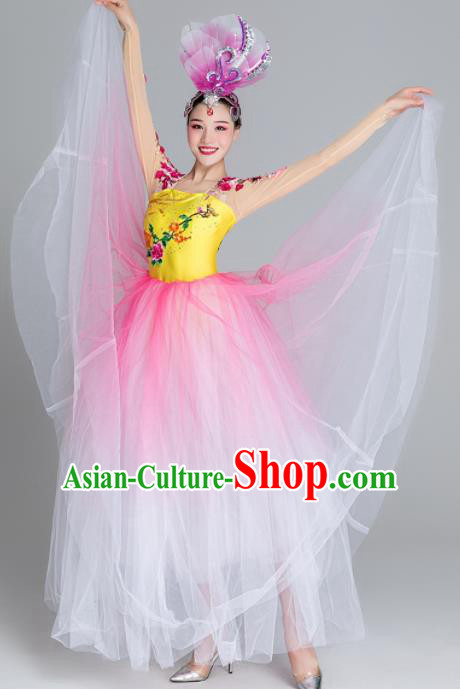 Traditional Chinese Classical Dance Chorus Pink Dress Stage Show Opening Dance Costume for Women