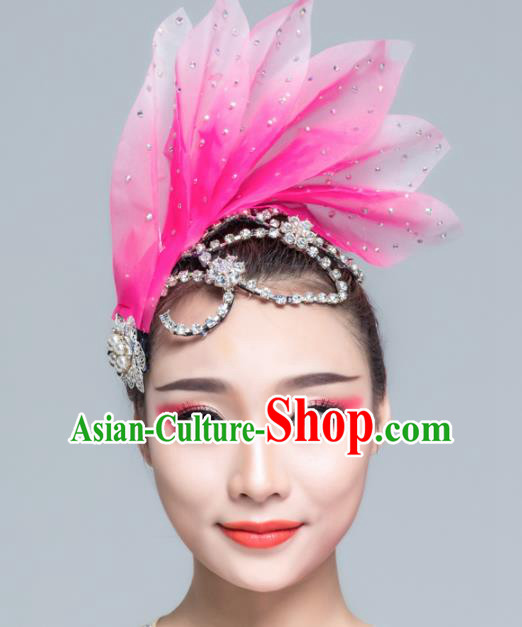 Traditional Chinese Folk Dance Pink Silk Leaf Hair Clasp Fan Dance Yanko Dance Headwear for Women