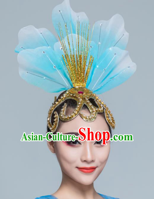 Traditional Chinese Folk Dance Blue Silk Hair Clasp Fan Dance Yanko Dance Headwear for Women