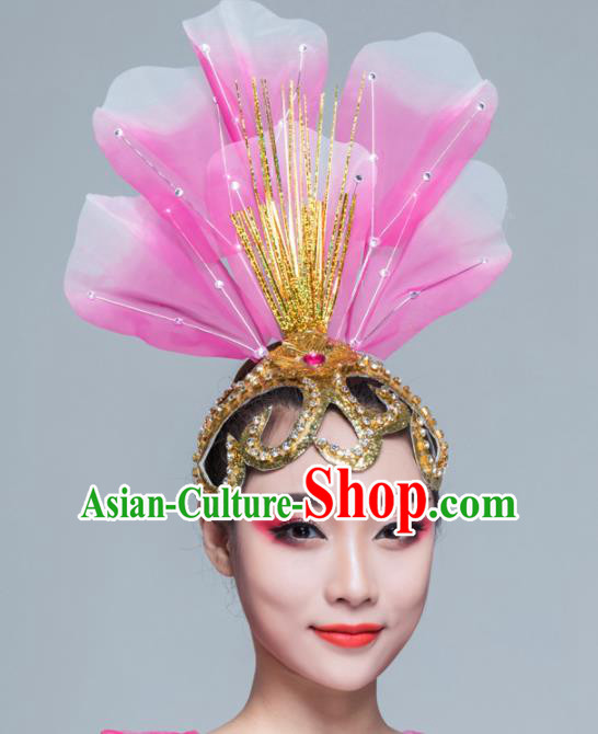Traditional Chinese Folk Dance Pink Silk Hair Clasp Fan Dance Yanko Dance Headwear for Women