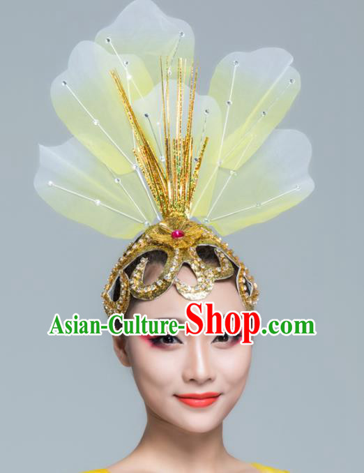 Traditional Chinese Folk Dance Yellow Silk Hair Clasp Fan Dance Yanko Dance Headwear for Women