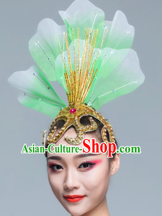 Traditional Chinese Folk Dance Green Silk Hair Clasp Fan Dance Yanko Dance Headwear for Women
