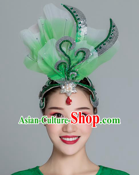 Traditional Chinese Folk Dance Green Silk Flower Hair Clasp Fan Dance Yanko Dance Headwear for Women