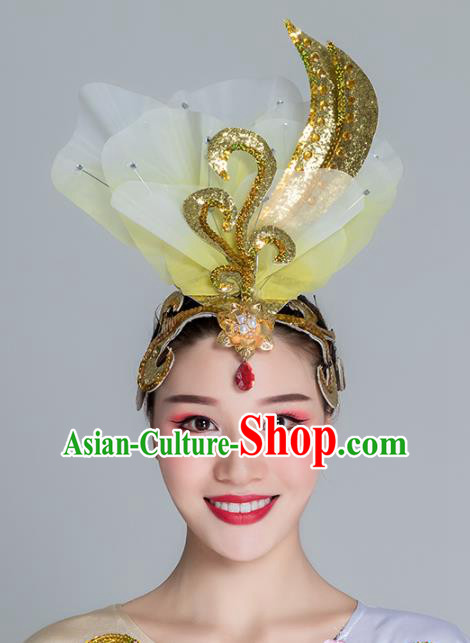 Traditional Chinese Folk Dance Yellow Silk Flower Hair Clasp Fan Dance Yanko Dance Headwear for Women