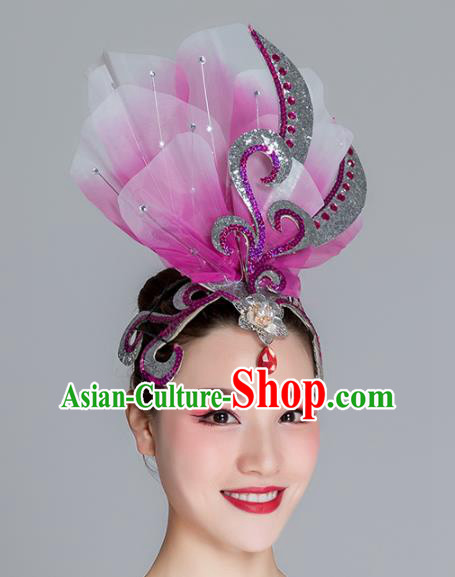 Traditional Chinese Folk Dance Purple Silk Flower Hair Clasp Fan Dance Yanko Dance Headwear for Women