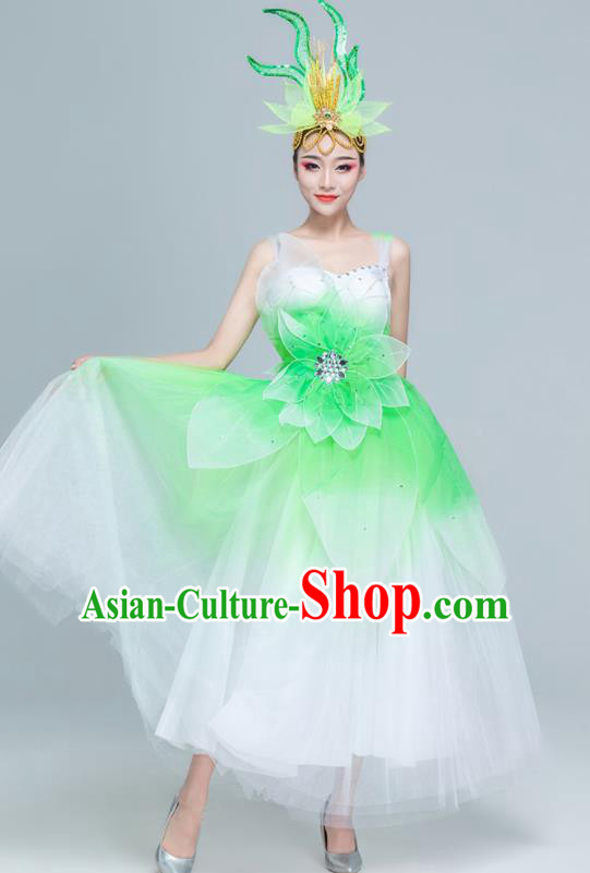 Traditional Chinese Spring Festival Gala Opening Dance Green Dress Stage Show Chorus Costume for Women