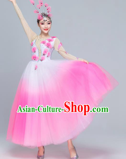 Traditional Chinese Spring Festival Gala Modern Dance Pink Dress Stage Show Chorus Opening Dance Costume for Women