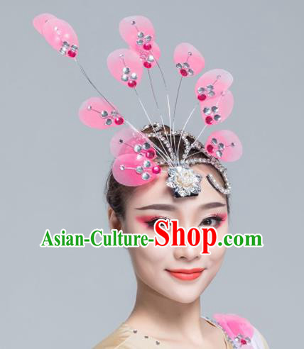 Traditional Chinese Yanko Dance Pink Silk Hair Claw Folk Dance Fan Dance Headwear for Women
