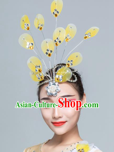 Traditional Chinese Yangko Dance Yellow Silk Hair Claw Folk Dance Fan Dance Headwear for Women