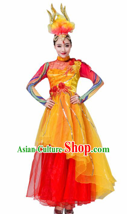 Traditional Chinese Spring Festival Gala Group Dance Red Dress Stage Show Chorus Opening Dance Costume for Women