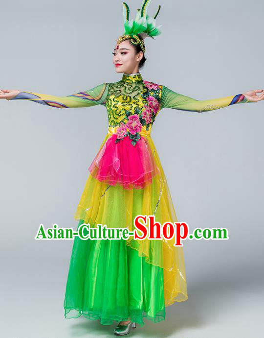 Traditional Chinese Spring Festival Gala Group Dance Green Dress Stage Show Chorus Opening Dance Costume for Women