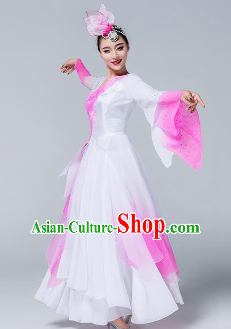 Traditional Chinese Spring Festival Gala Classical Dance Pink Dress Stage Show Umbrella Dance Costume for Women