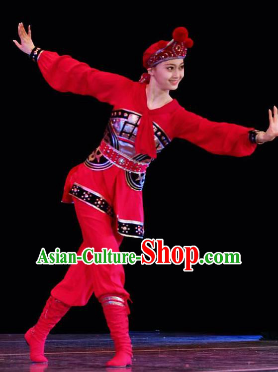 Traditional Chinese Classical Dance Mu Lan Gui Red Costume Stage Show Beautiful Dance Dress for Women