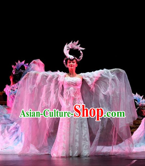 Traditional Chinese Classical Dance Ni Shang Yu Yi Wu Costume Stage Show Court Beautiful Dance Dress for Women