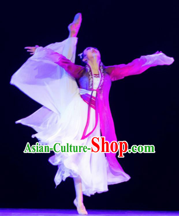 Traditional Chinese Classical Dance Ballet Ru Meng Ling Costume Stage Show Beautiful Dance Dress for Women
