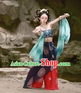 Chinese Beautiful Dance Tian Nu Ji Le Costume Traditional Classical Dance Competition Stage Show Dress for Women