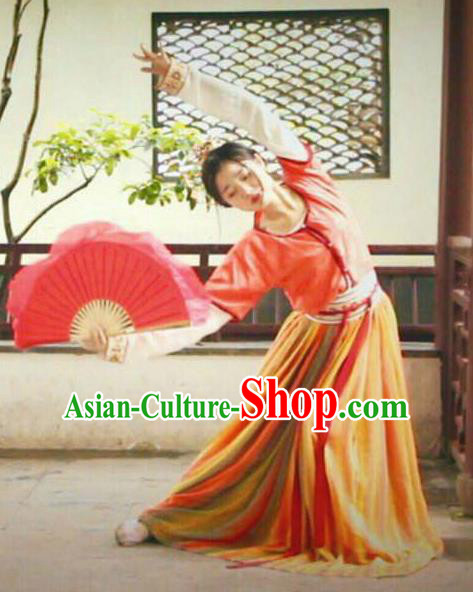 Chinese Beautiful Dance Tong Que Fu Costume Traditional Classical Dance Competition Stage Show Dress for Women