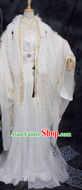 Traditional Chinese Cosplay Swordsman White Costume Ancient Royal Highness Hanfu Clothing for Men