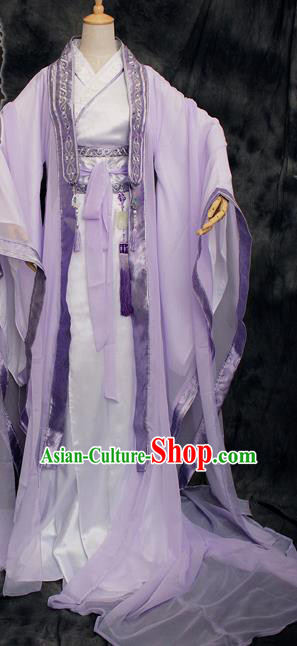 Traditional Chinese Cosplay Swordsman Lilac Costume Ancient Royal Highness Hanfu Clothing for Men