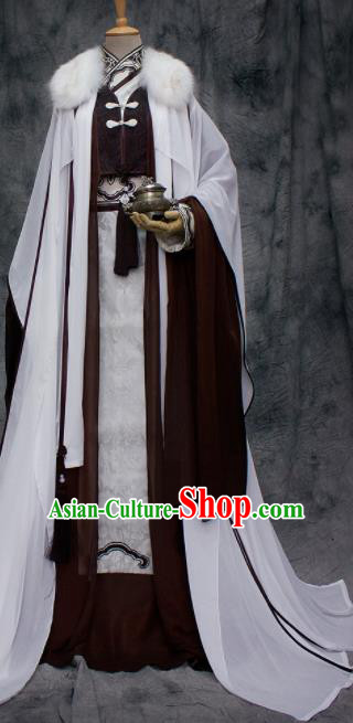 Traditional Chinese Cosplay Swordsman Nobility Childe Brown Costume Ancient Royal Highness Hanfu Clothing for Men