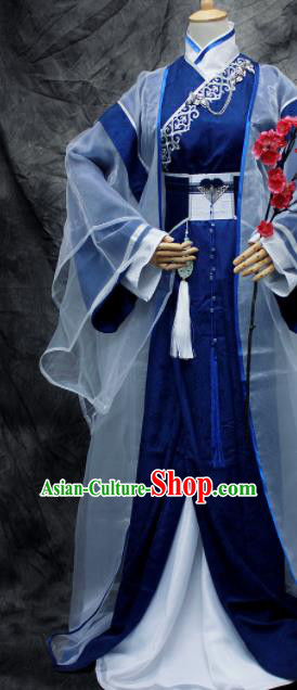 Traditional Chinese Cosplay Swordsman Nobility Childe Royalblue Costume Ancient Royal Highness Hanfu Clothing for Men