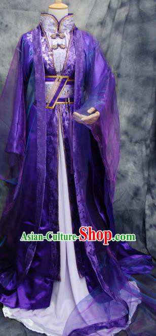 Traditional Chinese Cosplay Swordsman King Purple Costume Ancient Royal Highness Hanfu Clothing for Men