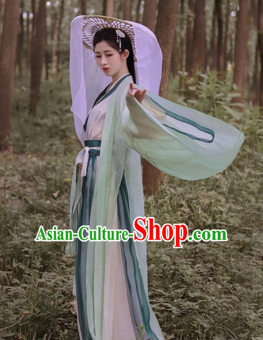 Traditional Chinese Jin Dynasty Swordswoman Historical Costume Ancient Court Princess Green Hanfu Dress for Women