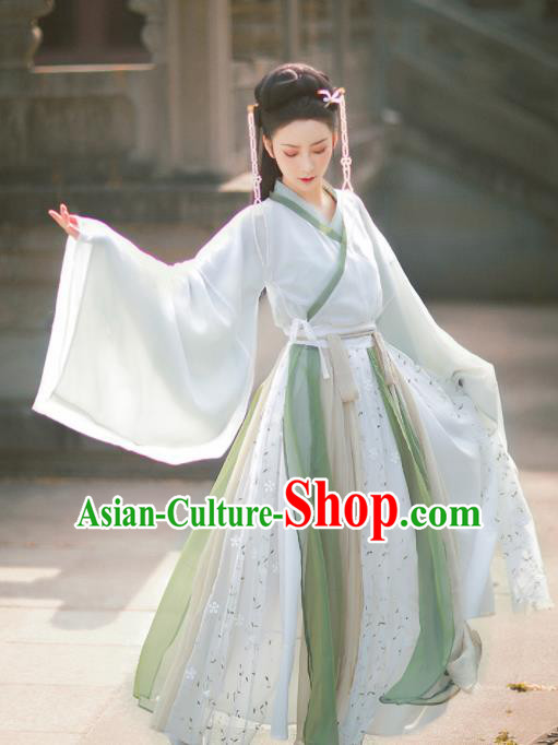 Traditional Chinese Jin Dynasty Palace Historical Costume Ancient Court Princess Hanfu Dress for Women